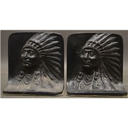 CAST IRON INDIAN HEAD BOOK ENDS