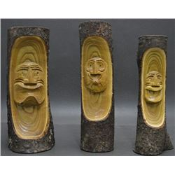THREE IROQUOIS INDIAN CARVINGS