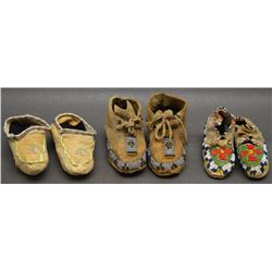 THREE PAIR PLAINS INDIAN DOLL MOCCASINS