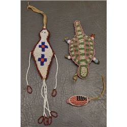 THREE SIOUX INDIAN BEADED FETISHES