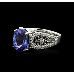 14KT White Gold 4.17 ctw Tanzanite and Diamond Ring
