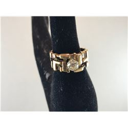 14K YELLOW & WHITE GOLD LADIES WEDDING RING - RP $350.00