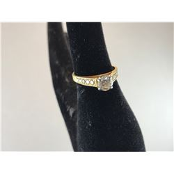 18K YELLOW GOLD & PLATINUM LADIES ENGAGEMENT RING -  RP $3,600.00
