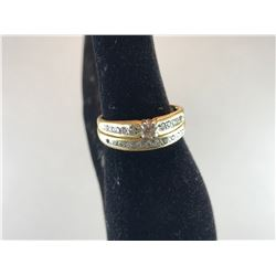 18K YELLOW GOLD LADIES WEDDING RING SET WITH ENGAGEMENT RING - $1,500.00