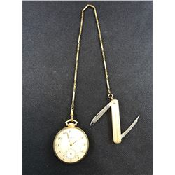 BULOVA POCKET WATCH WITH 10K YELLOW GOLD CASE AND POCKET KNIFE - RP $200.00