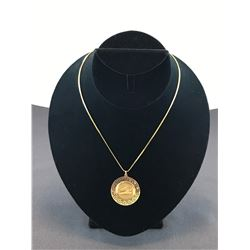 18K YELLOW GOLD CHAIN 20 INCH WITH ONE 14K YELLOW GOLD PENDANT GREEK DESIGN -  RP $895.00