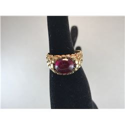10K YELLOW GOLD MENS RING WITH RED STONE - RP $925.00