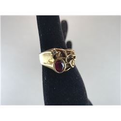 10K YELLOW GOLD LADIES RING, POSSIBLE SYNTHETIC RUBY - RP $695.00