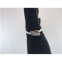 18K YELLOW GOLD & PLATINUM RING ANTIQUE STYLE WITH 3 DIAMONDS