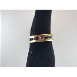 14K YELLOW GOLD MENS RING WITH 2 BRILLIANT CUT DIAMONDS, BLUE SAPPHIRES, RUBIES - RP $795.00