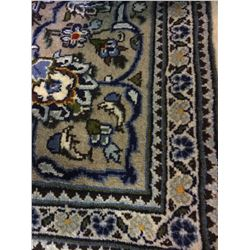 "KASHAN WOOL 10'9"" X 6'8 BLUE, WHITE, RED HAND WOVEN PERSIAN AREA RUG"