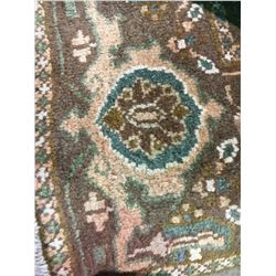 "HERIZ WOOL 11'2"" X 7'6"" BROWN, WHITE, PINK HAND WOVEN PERSIAN AREA RUG"