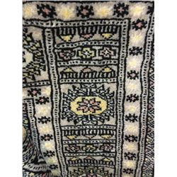"BOKHARA WOOL 7'7"" X 5'3"" GREY, YELLOW, BLACK HAND WOVEN PERSIAN AREA RUG"