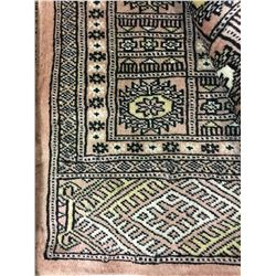 "BOKHARA WOOL 8' X 5'1"" PINK, WHITE, BLACK HAND WOVEN PERSIAN AREA RUG"