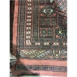 "BOKHARA WOOL 8'9"" X 9' PINK, WHITE, BLACK HAND WOVEN PERSIAN AREA RUG"
