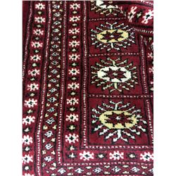 BOKHARA WOOL 6' X 9' RED, CREAM, GOLD HAND WOVEN PERSIAN AREA RUG