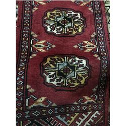 BOKHARA WOOL 4' X 1' BURGUNDY, WHITE, BLACK HAND WOVEN PERSIAN AREA RUG