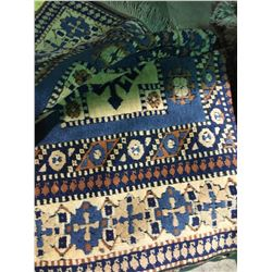 "KARS WOOL 9'5"" X 6'3"" BLUE, CREAM, PINK HAND WOVEN PERSIAN AREA RUG"
