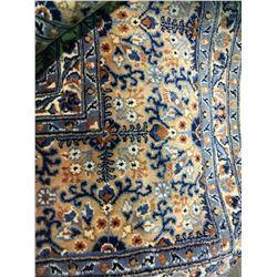 "MOUD WOOL 10'4"" X 6'10"" BLUE, BEIGE, BROWN HAND WOVEN PERSIAN AREA RUG"