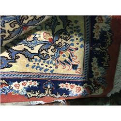 """TEHRAN WOOL 6'6"""" X 4'9"""" BLUE, WHITE, PINK HAND WOVEN PERSIAN AREA RUG"""