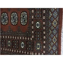 """BOKHARA WOOL 7'8"""" X 5' BROWN, WHITE, BLUE HAND WOVEN PERSIAN AREA RUG"""