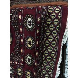 "BOKHARA WOOL 7'9"" X 5' BURGUNDY, WHITE, BLACK HAND WOVEN PERSIAN AREA RUG"