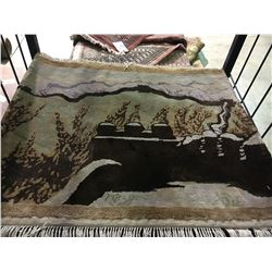 CHINESE 120L SILK 2' X 2' BROWN, GREY, BEIGE HAND WOVEN PERSIAN AREA RUG