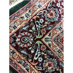 TABRIZ SILK 9' X 6' GREEN, BLUE, BURGUNDY HAND WOVEN PERSIAN AREA RUG