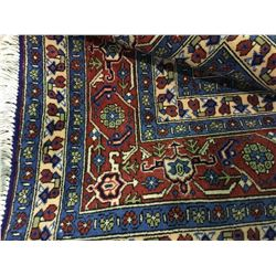 "ARDABIL WOOL 9'6"" X 6'6"" RED, BEIGE, BLUE HAND WOVEN PERSIAN AREA RUG"