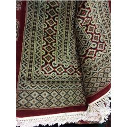 "FLORAL WOOL & SILK 9' X 6'1"" RED, BEIGE, WHITE HAND WOVEN PERSIAN AREA RUG"