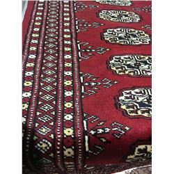 "BOKHARA WOOL 7'3"" X 2'6"" RED, BEIGE, BLACK HAND WOVEN PERSIAN AREA RUG"