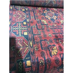 "SERAPI WOOL 9' X 2'7"" RED, BLACK, ORANGE HAND WOVEN PERSIAN AREA RUG"