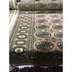 "BOKHARA WOOL 9'4"" X 2'7"" PINK, BEIGE, BLACK HAND WOVEN PERSIAN AREA RUG"
