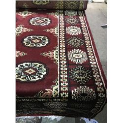 "BOKHARA WOOL 10'2"" X 2'7"" BURGUNDY, BEIGE, BLACK HAND WOVEN PERSIAN AREA RUG"