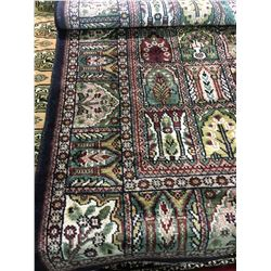 "KASHMIR SILK 5'5"" X 3' BLUE, BURGUNDY, GREEN HAND WOVEN PERSIAN AREA RUG"