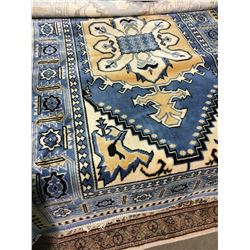 "HEREKE SILK 4'3"" X 2'6"" BLUE, BEIGE, BLACK HAND WOVEN PERSIAN AREA RUG"