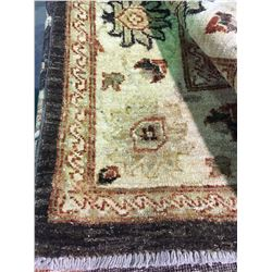 "SARUGH ANTIQUE FINISH WOOL 8'9"" X 6' CREAM, BROWN, RED HAND WOVEN PERSIAN AREA RUG"
