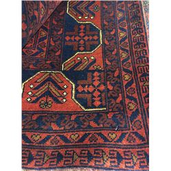 "SERAPI WOOL 9'6"" X 6'6"" RED, BLUE, GOLD HAND WOVEN PERSIAN AREA RUG"