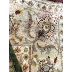 "TABRIZ WOOL & SILK  9'1"" X 6' CREAM, RED, GREEN HAND WOVEN PERSIAN AREA RUG"