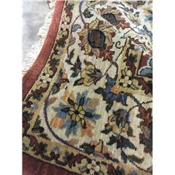 KASHAN WOOL & SILK  9' X 6' PINK, BLUE, BEIGE HAND WOVEN PERSIAN AREA RUG