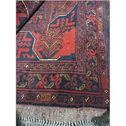 "SERAPI WOOL 6'3"" X 5' RED, BLUE, BROWN HAND WOVEN PERSIAN AREA RUG"