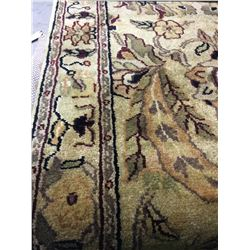 "FLORAL ANTIQUE FINISH WOOL 8' X 2'6"" BEIGE, RED, GOLD HAND WOVEN PERSIAN AREA RUG"