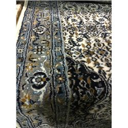 "ORIENTAL SUPPER WOOL 13'1"" X 3'3"" BLUE, GREY, WHITE HAND WOVEN PERSIAN AREA RUG"