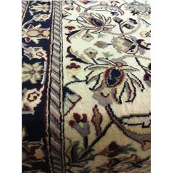"TABRIZ WOOL 8' X 2'6"" BEIGE, BLACK, GOLD HAND WOVEN PERSIAN AREA RUG"