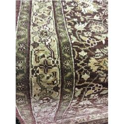 "FLORAL WOOL 6'4"" X 2'3"" BEIGE, BROWN, GOLD HAND WOVEN PERSIAN AREA RUG"