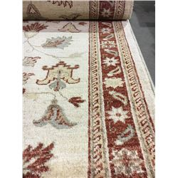 "SARUGH ANTIQUE FINISH WOOL 9'8"" X 2'7"" CREAM, RED, GOLD HAND WOVEN PERSIAN AREA RUG"