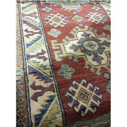 "SHIRVAN WOOL 10' X 2'2"" CREAM, RED, GOLD HAND WOVEN PERSIAN AREA RUG"