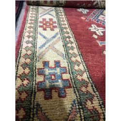 "SHIRVAN WOOL 10'8"" X 3' CREAM, RED, BLUE HAND WOVEN PERSIAN AREA RUG"
