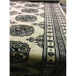 "BOKHARA WOOL 9'6"" X 2'6"" BEIGE, BLACK, PINK HAND WOVEN PERSIAN AREA RUG"