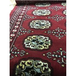 "BOKHARA WOOL 6' X 2'2"" RED, BLACK, BEIGE HAND WOVEN PERSIAN AREA RUG"